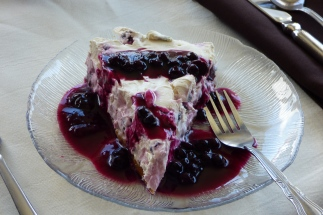 Local blueberries in Blueberries in a cloud cake at Round Da Bay Inn, Plate Cove West, NL