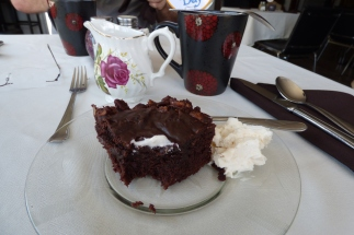 OMG. Chocolate pecan cake at Round Day Bay Inn, Plate Cove West, NL. Expert tip. Order whatever chocolate cake she is featuring. They are all homemade and amazing.